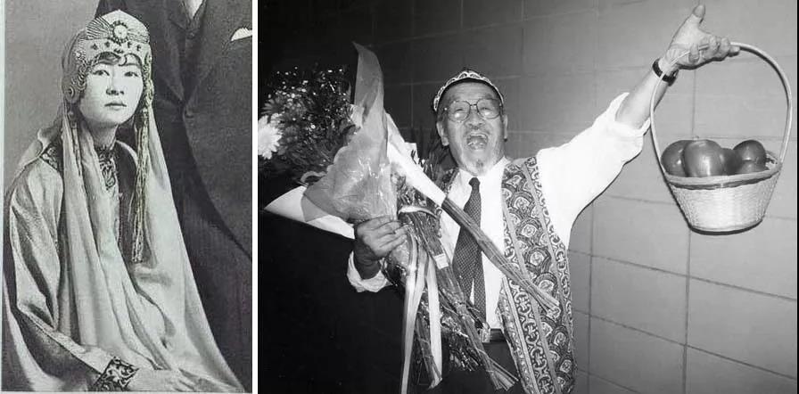 """中国精英知识分子的开放心灵 (以对中亚的古老丝路文化为例):林徽因为自己设计的""""东方式、带头饰""""的结婚礼服、乌兹别克小花帽(Doppa)下的王洛宾。"""